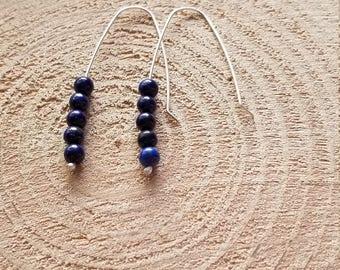 Natural Lapis Lazuli Bead Elbow Bend Drop Earrings Argentium Silver Hooks