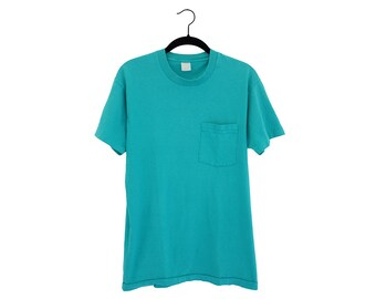 Vintage Teal Blank Fruit of The Loom 50/50 Poly-Cotton Blend Pocket T-Shirt, Made in USA - Large