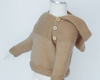 Knit Baby Sweater Hoodie - Beige knitted Sweater for boy/girl - Baby Wool - Handmade Minimalist Kids Sweater - Sizes: from 3 to 12 months