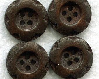 Wood Flower Buttons Decorated Wooden Buttons 23mm (1 inch) Set of 8 /BT55