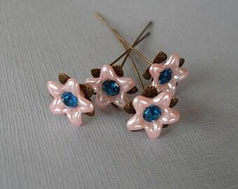 Pink Flower  Headpins 2 Inch long - 4.