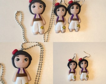 Necklace and Earring Set aladdin in polymer clay earrings