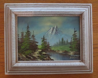 Original Framed Miniature Mountain Landscape Painting, Oil On Canvas Board, Artist Signed Kent