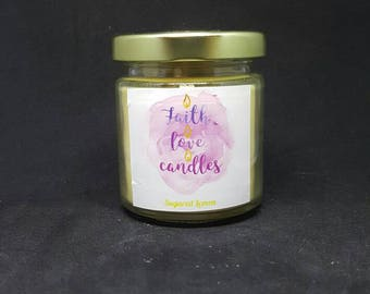 Sugared lemon 4 Ounce Homemade Soy Candle  (Highly Scented)