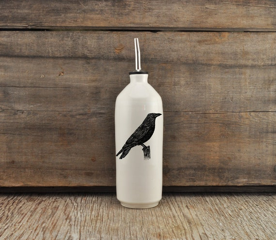 Handmade white glossy porcelain cruet with American crow drawing by Cindy Labrecque, Canadian Wildlife collection