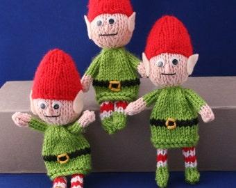 Posable Santa Christmas elves - INSTANT DOWNLOAD PDF Knitting Pattern
