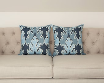 READY TO SHIP - Pair of 17x17 Bengal Bazaar Teal designer pillow covers - Kelly Wearstler