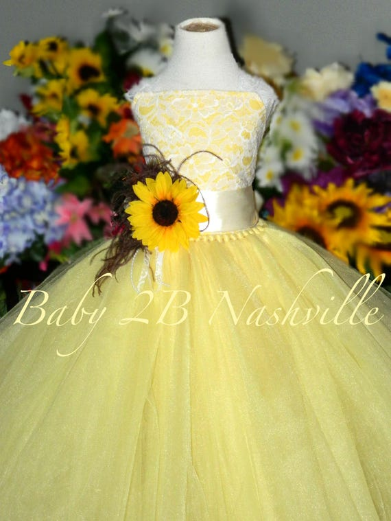 Sunflower dress maize yellow dress flower girl dress lace mightylinksfo