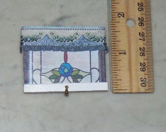"""Window Treatment for 1:12th Dollhouse. Valence attached to """"Stained Glass"""" .  Decoupaged on wood.    Measures about 2"""" x 1.5"""""""