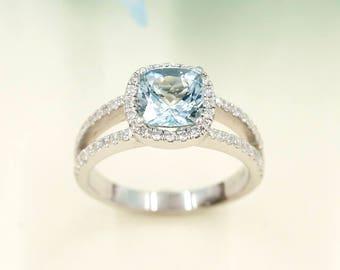 Aquamarine Engagement Ring, 0.42 ct High Quality Diamonds,Aquamarine Diamond Engagement Ring.7mm Natural Cushion Aquamarine.Wedding Ring.