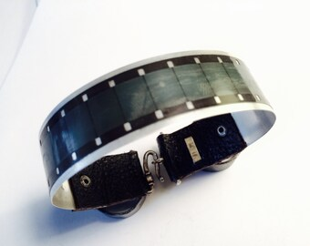 """The Super 16mm - Exposed Film Strip over Fine Silver 999 - Mens & Womens  - 7.5"""" Long Bracelet Cuff  Bangle"""