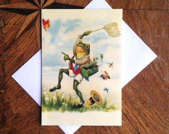 The Collector.  Beautiful Vintage Frog Greeting Card Repro.