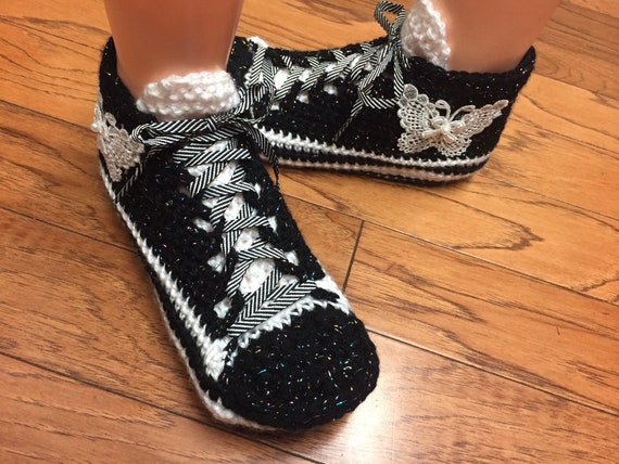 Listing sneakers butterfly butterfly slippers Womens shoe white 8 sneakers crocheted 6 tennis 354 slippers slippers Crocheted sneaker black xwCUaWqvng