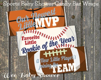 Sports Baby Shower Favors, Sport Candy Bar Wraps