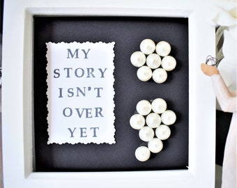 A Mental Health Awareness Gift Frame. Semi Colon Button Frame Gift. Box Frame Hand Stamped Quote, My Story Isn't Over Yet. You Choose Colour