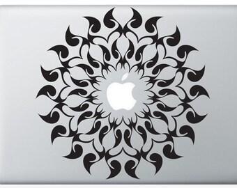 Radial Flame laptop DECAL- macbook PC computer- geometric symmetrical circle - vinyl circle