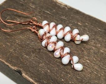 White copper jewelry - one of a kind wire weave earrings - luster long drop earrings