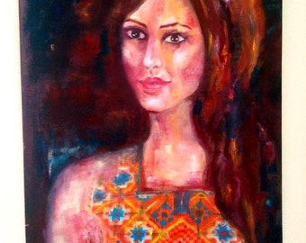 "Original oil painting on canvas on board 36"" x 24"" palestinian woman in traditional dress"
