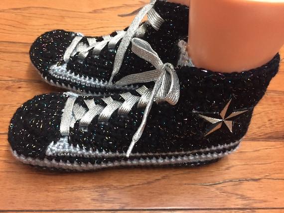 converse slippers crocheted top sneaker high 383 Womens crochet tennis inspired 10 converse shoes 8 silver slippers tennis shoes Converse Pq1wf7x
