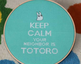 PATTERN: Keep Calm Your Neighbor Is Totoro Cross Stitch