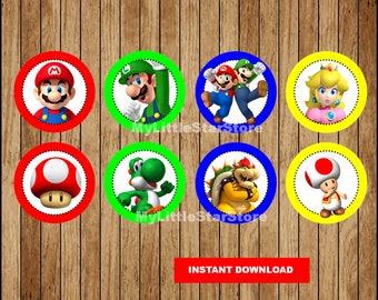 Mario Bros Cupcakes Toppers, Printable Mario Bros Toppers, Super Mario Bros party Toppers Instant download