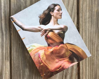One-of-a-Kind, Hand-bound Dust Jacket Notebook/Sketchbook - Contemporary Dance, orange