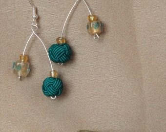 """Quirky """"Wishbone"""" Earrings with Green and Yellow Accent Beads - Perfect Spring Gift, Gift for Her!"""