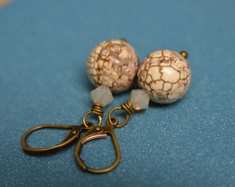 Ivory and Brown Earrings made from Natural Magnesite and antiqued Leverback ear wires . Handmade in Maine . Natural Stone Jewelry