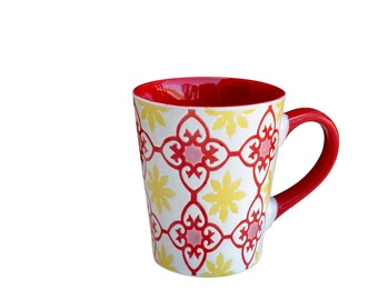 Beyond Tableware Dutch Wax Tech Ceramic  Hand Crafted Embossed 14 oz.  Red & Yellow Mug