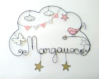 """Name wire customizable """"starred bird and Butterfly in my dreams"""" decorative wall cloud for nursery"""