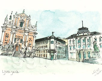 Ljublijana Slovenia / art print from an original watercolor painting