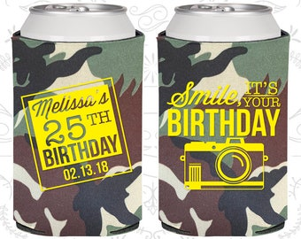25th Birthday, 25th Birthday Favors, Custom Birthday Party Gifts, Smile, its your birthday, vintage camera, Birthday Party Favors (20053)
