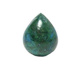 Blue Chrysocolla Green Malachite Semi Precious Copper Jewel, High Gloss Polish Semiprecious Gemstone Cabochon, Gem Silica, Peru, DIY Jewelry