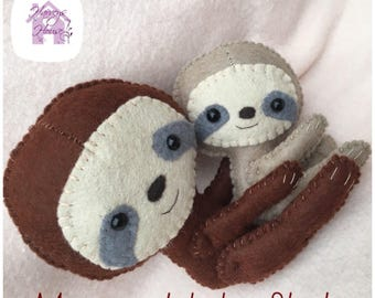 Mom and Baby Sloth Set Handmade to Order Collectable Dolls
