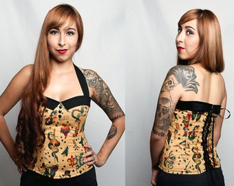 Tattoo Print/ Flash Art Pinup Rockabilly Corset Style Halter Top Sz. 1X, 2X
