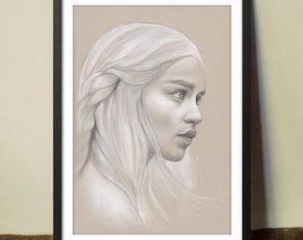 Khaleesi/Daenerys Targaryen Original Hand Drawn Portrait