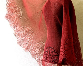 Hand knitted lace linen shawl - made to order in any color