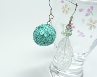 japanese traditional, made in japan, earring, thread ball,  temari, embroidery, cute,  kawaii, wafu, leaf, green earring, pastel,piecing