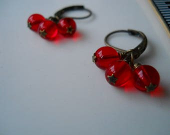 Red Starberry Cluster Earrings