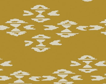 Overshot print in Gold - April Rhodes knit fabric
