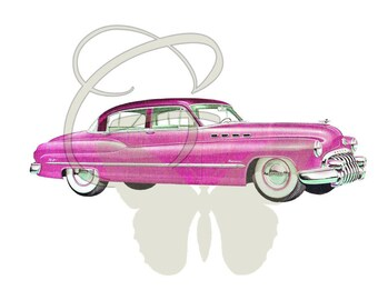 Car Vintage Travel Art Digital Download Scrapbooking Drawing Papercraft Printables Clipart