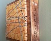Toronto neighbourhood Hand-Embroidered Wood Mini Map