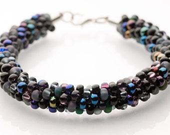 """Style """"Onyx"""" Custom Sized Kumihimo Beaded Bracelet"""