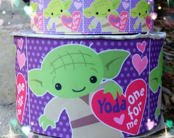 Yoda Ribbon, Yoda Valentines ribbon, Valentines ribbon, star wars ribbon