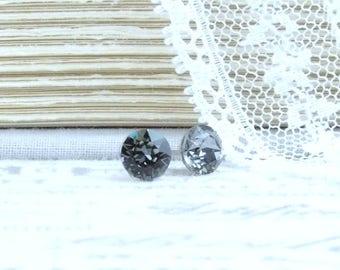 Gray Stud Earrings Small Studs Crystal Stud Earrings 6mm Studs Gray Studs Surgical Steel Studs