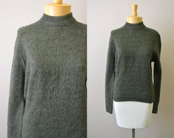 1950s Colleen Brushed Mohair Dark Green Sweater