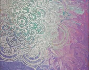 Silver Mandala Mixed Media Original Acrylic Painting on Canvas Art by Breanna Deis