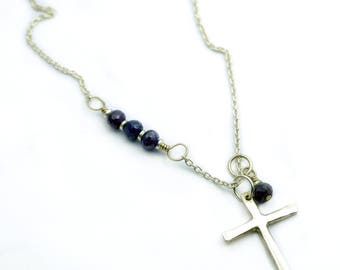 Silver Cross Necklace, Jesus Jewelry, Silver Cross Pendant, Sapphire Necklace, Religious Jewelry, Baptism, Confirmation Gift, Catholic Gift