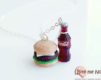 Cheeseburger and Cola Necklace Mini Food - Miniature Food Jewelry, Fast Food Jewelry, Polymer Clay, Dollhouse Miniatures, Kawaii
