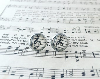 Vintage hymnal recycled book earrings, treble clef earrings, choir director gift, band leader gift, music director, music teacher gift
